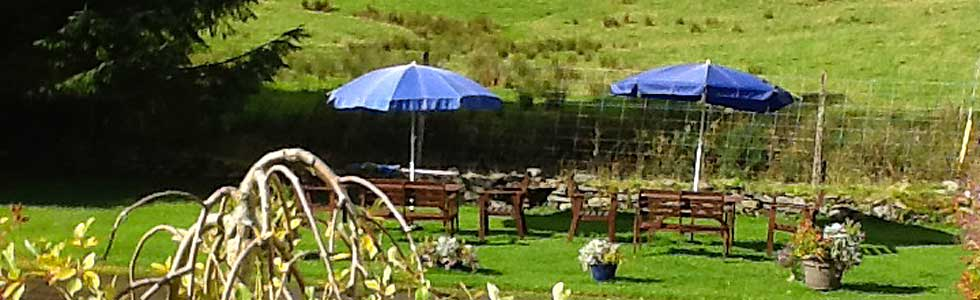 Shegarton Farm has a lovely garden with outdoor furniture for eating and relaxing